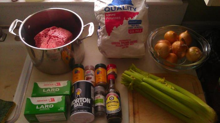 What goes into my traditional tourtiere.