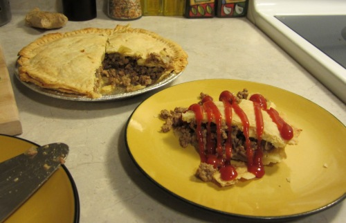 Don't care what you say, this is the *real* way to eat  tourtière.
