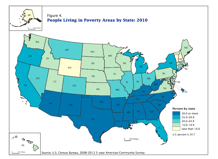 State poverty levels based on 2010 Census data