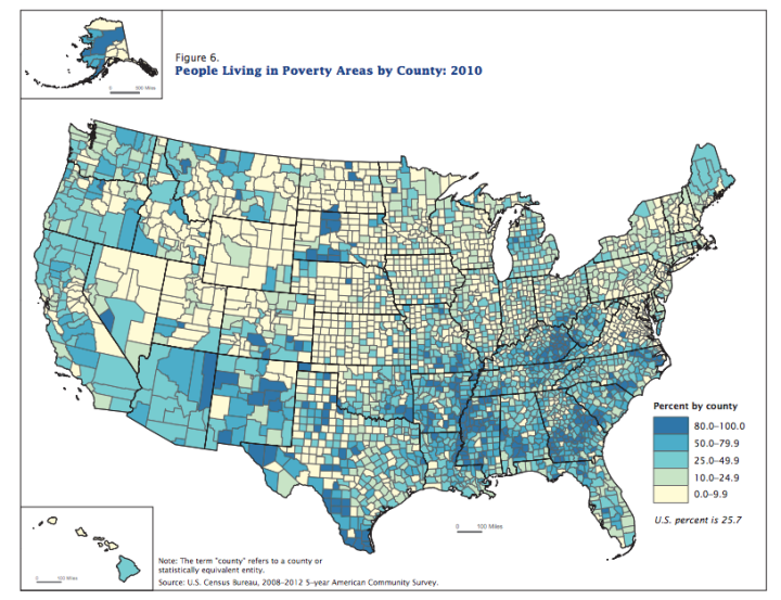 Poverty by county based on 2010 US Census data